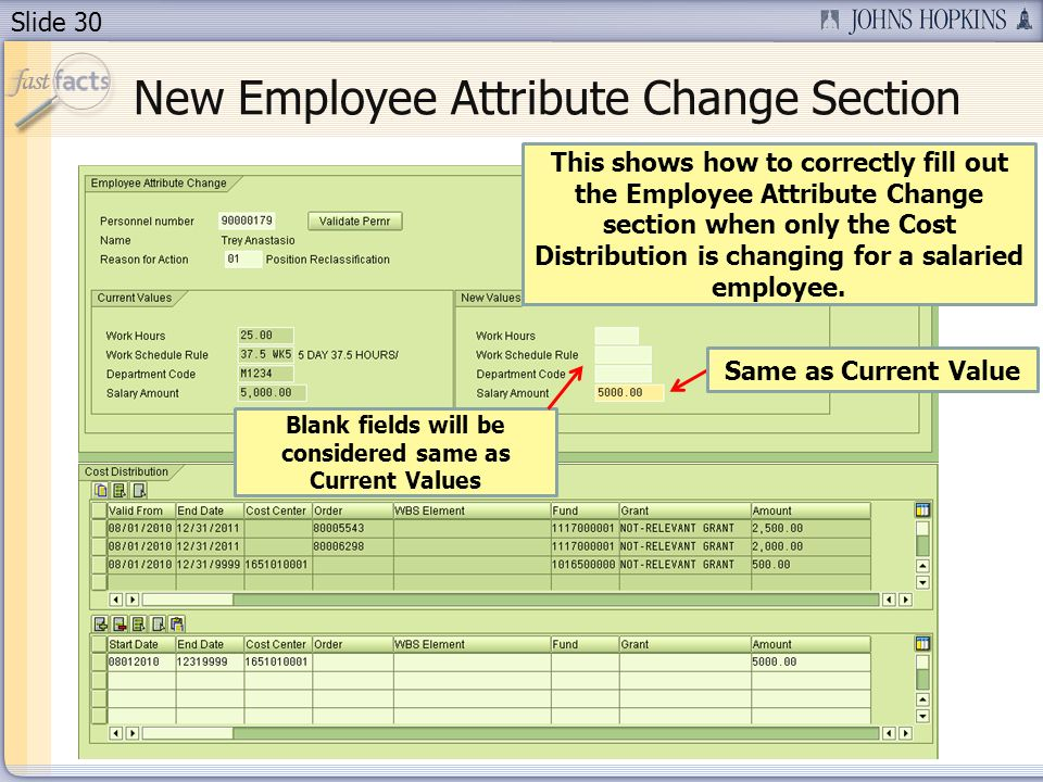 Slide 30 This shows how to correctly fill out the Employee Attribute Change section when only the Cost Distribution is changing for a salaried employe