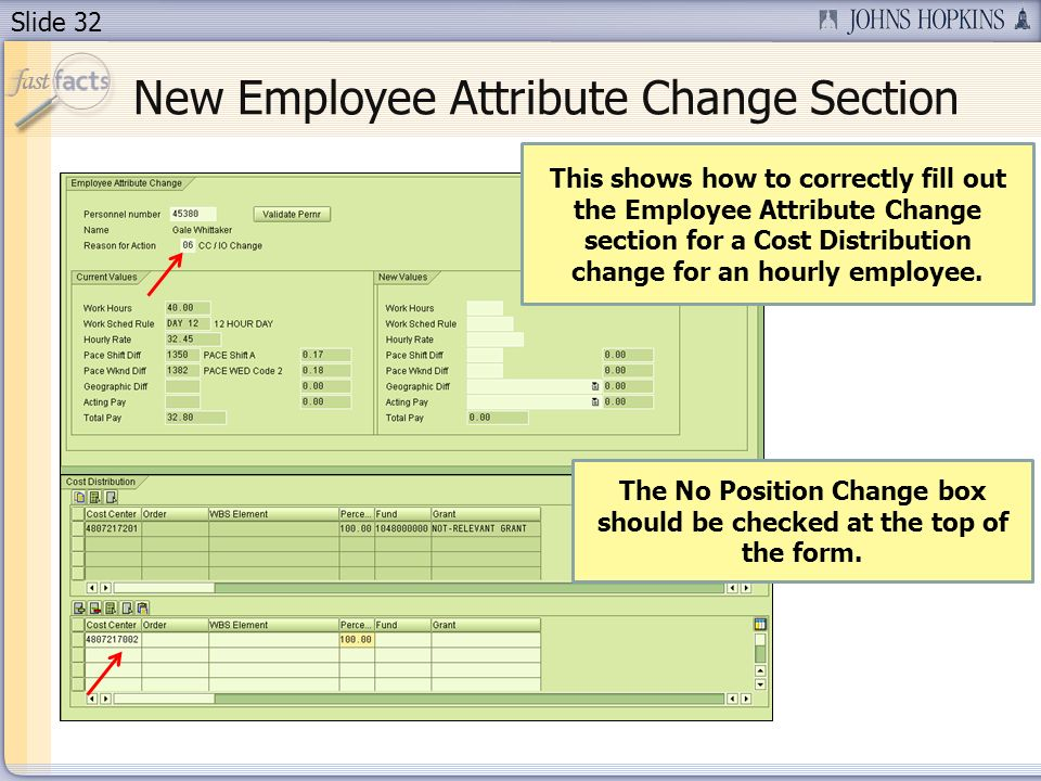 Slide 32 This shows how to correctly fill out the Employee Attribute Change section for a Cost Distribution change for an hourly employee. The No Posi