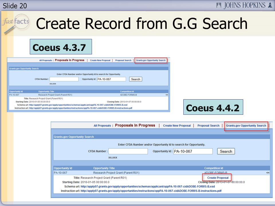 Slide 20 Create Record from G.G Search Coeus 4.3.7 Coeus 4.4.2