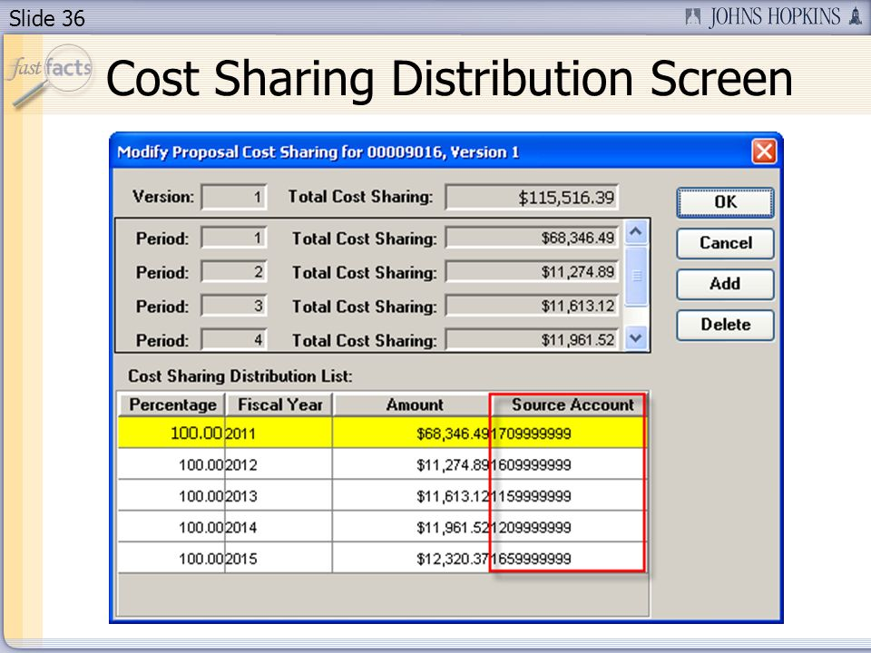Slide 36 Cost Sharing Distribution Screen