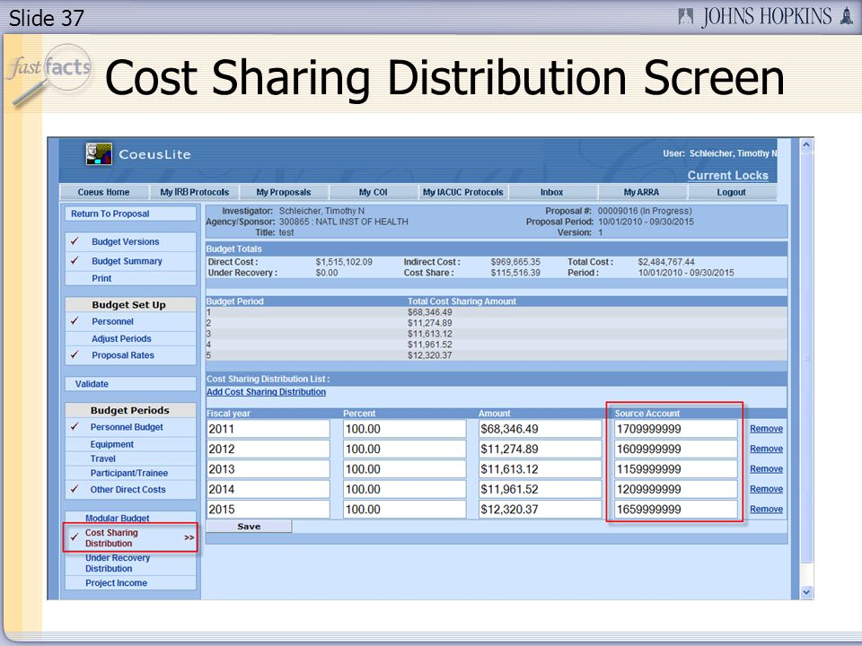 Slide 37 Cost Sharing Distribution Screen