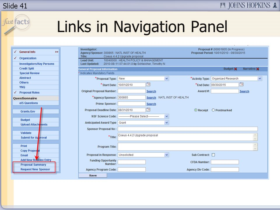 Slide 41 Links in Navigation Panel