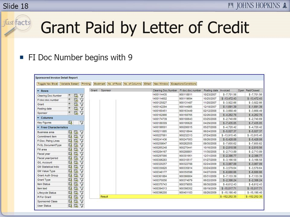 Slide 18 Grant Paid by Letter of Credit FI Doc Number begins with 9