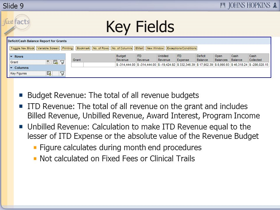 Slide 9 Key Fields Budget Revenue: The total of all revenue budgets ITD Revenue: The total of all revenue on the grant and includes Billed Revenue, Unbilled Revenue, Award Interest, Program Income Unbilled Revenue: Calculation to make ITD Revenue equal to the lesser of ITD Expense or the absolute value of the Revenue Budget Figure calculates during month end procedures Not calculated on Fixed Fees or Clinical Trails