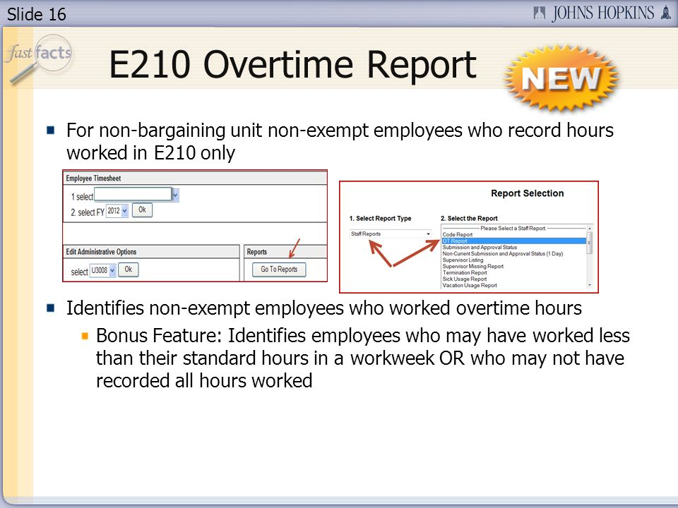Slide 16 E210 Overtime Report For non-bargaining unit non-exempt employees who record hours worked in E210 only Identifies non-exempt employees who worked overtime hours Bonus Feature: Identifies employees who may have worked less than their standard hours in a workweek OR who may not have recorded all hours worked