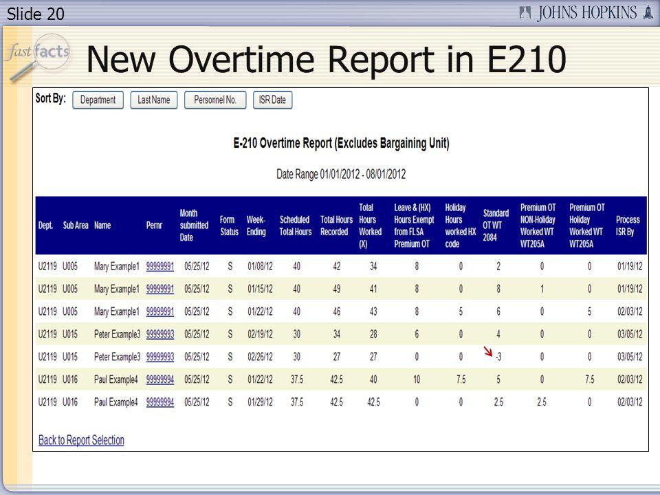 Slide 20 New Overtime Report in E210