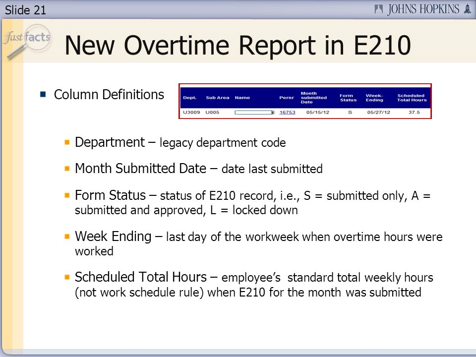 Slide 21 New Overtime Report in E210 Column Definitions Department – legacy department code Month Submitted Date – date last submitted Form Status – status of E210 record, i.e., S = submitted only, A = submitted and approved, L = locked down Week Ending – last day of the workweek when overtime hours were worked Scheduled Total Hours – employees standard total weekly hours (not work schedule rule) when E210 for the month was submitted