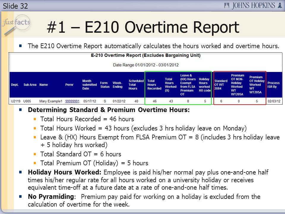 Slide 32 #1 – E210 Overtime Report The E210 Overtime Report automatically calculates the hours worked and overtime hours.