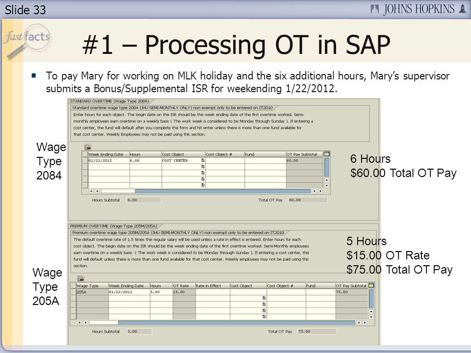 Slide 33 #1 – Processing OT in SAP To pay Mary for working on MLK holiday and the six additional hours, Marys supervisor submits a Bonus/Supplemental ISR for weekending 1/22/2012.