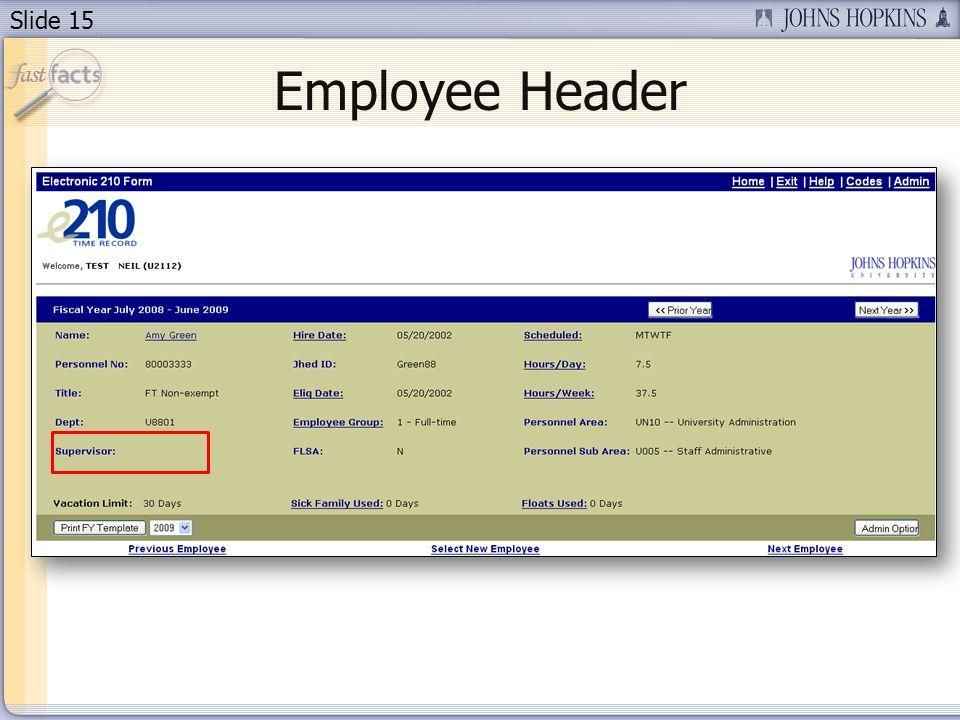Slide 15 Employee Header