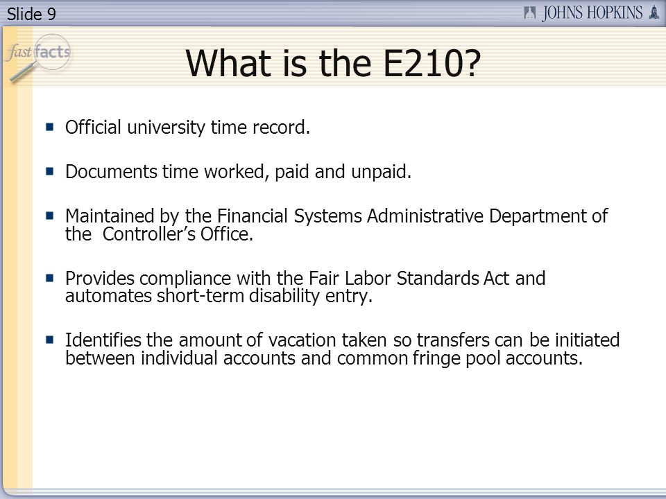 Slide 20 Submitting E210 When a month is entered, the E210 will use the current set up to process the month and calculate accruals.