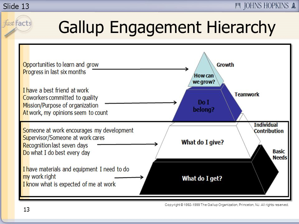 Slide 13 13 Gallup Engagement Hierarchy Copyright © 1992-1999 The Gallup Organization, Princeton, NJ. All rights reserved.