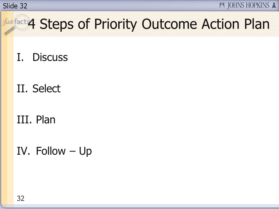 Slide 32 4 Steps of Priority Outcome Action Plan I.Discuss II.Select III. Plan IV. Follow – Up 32