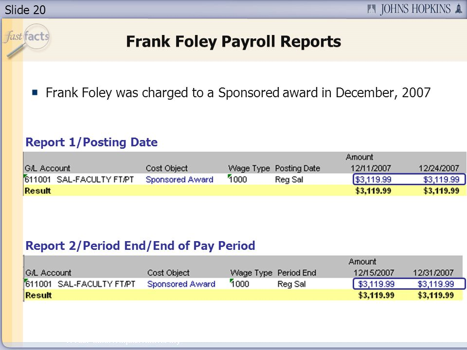 Slide 20 2007 Johns Hopkins University Frank Foley Payroll Reports Frank Foley was charged to a Sponsored award in December, 2007 Report 1/Posting Date Report 2/Period End/End of Pay Period