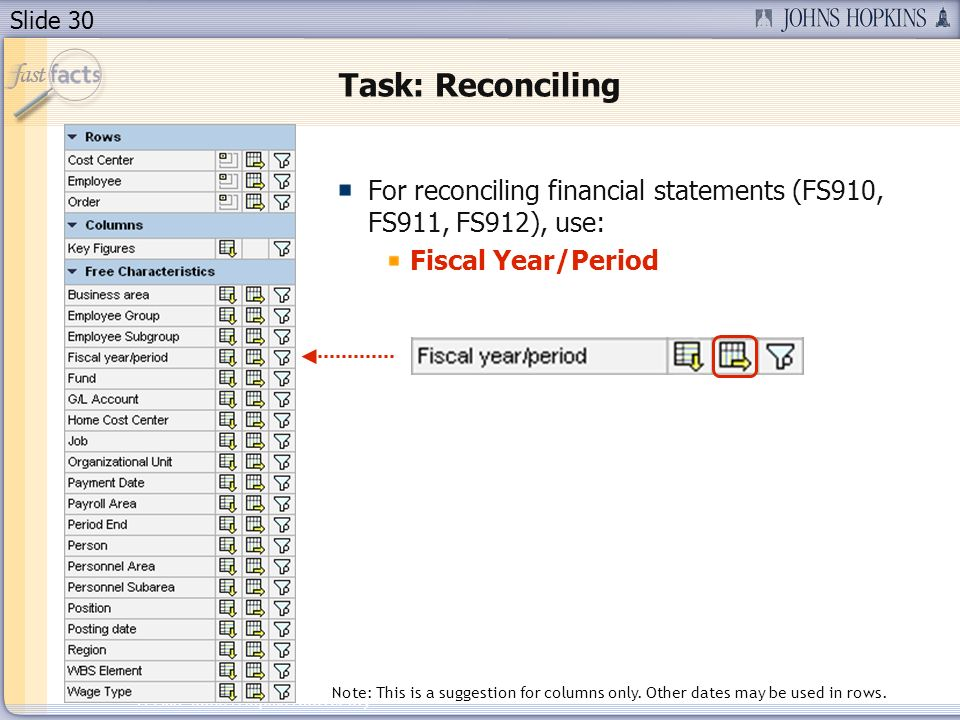 Slide 30 2007 Johns Hopkins University Task: Reconciling For reconciling financial statements (FS910, FS911, FS912), use: Fiscal Year/Period Note: This is a suggestion for columns only.