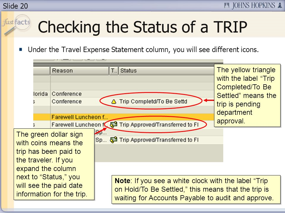 Slide 20 Checking the Status of a TRIP Under the Travel Expense Statement column, you will see different icons. Note: If you see a white clock with th