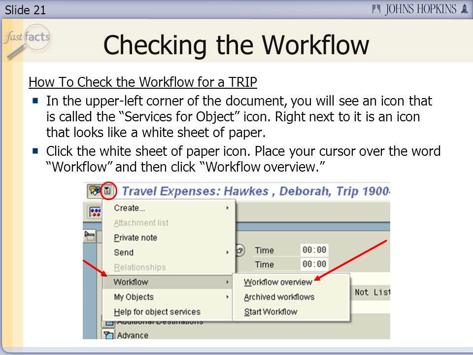 Slide 21 Checking the Workflow How To Check the Workflow for a TRIP In the upper-left corner of the document, you will see an icon that is called the