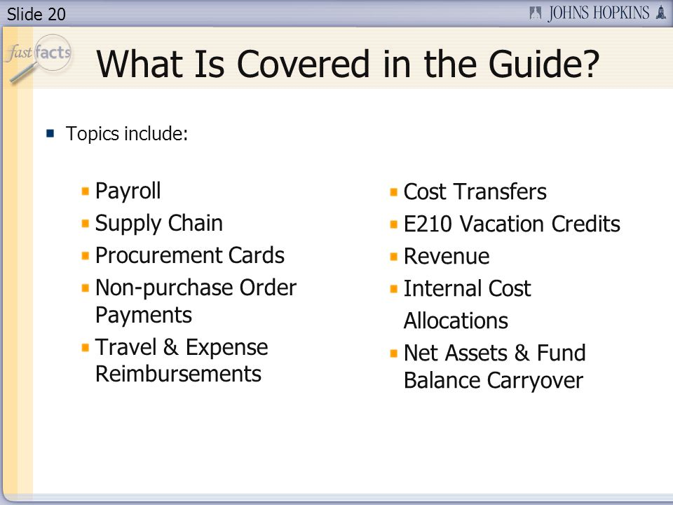 Slide 20 What Is Covered in the Guide.