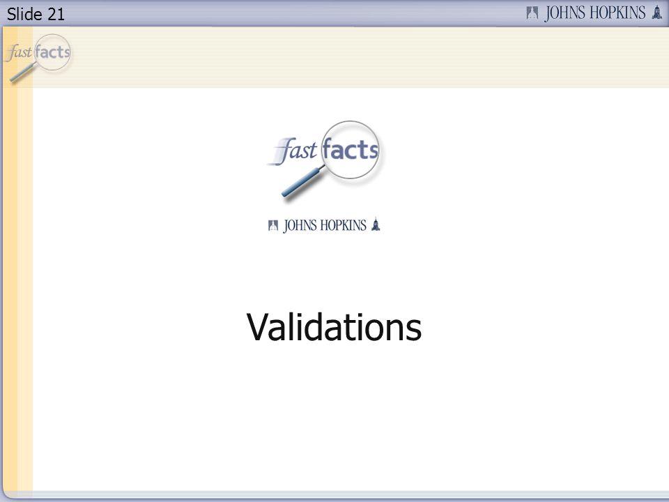 Slide 21 Validations