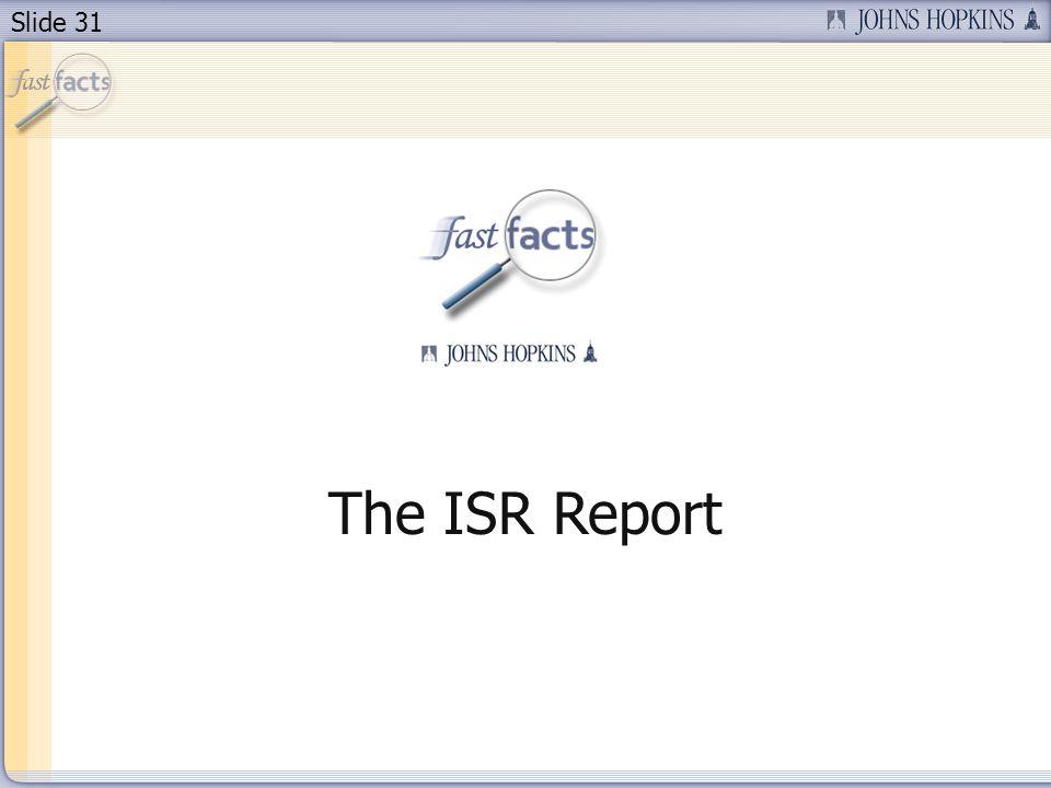 Slide 31 The ISR Report