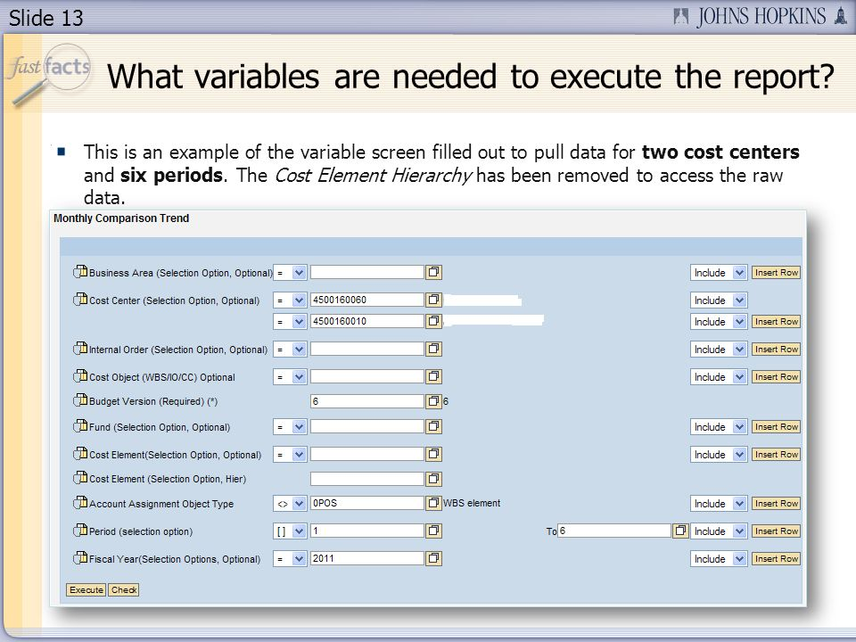 Slide 13 This is an example of the variable screen filled out to pull data for two cost centers and six periods.