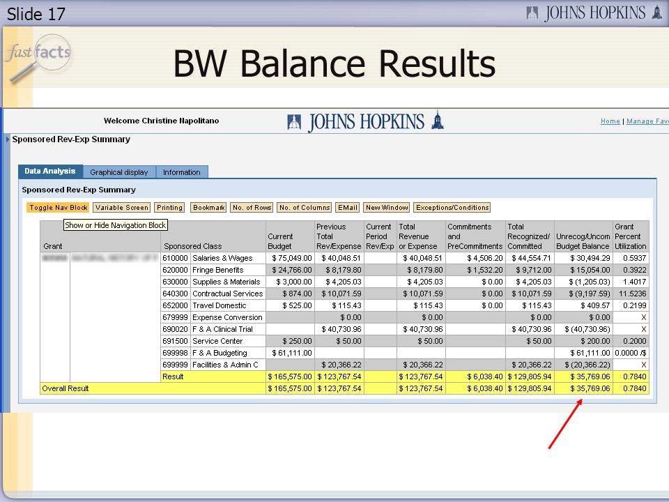 Slide 17 BW Balance Results