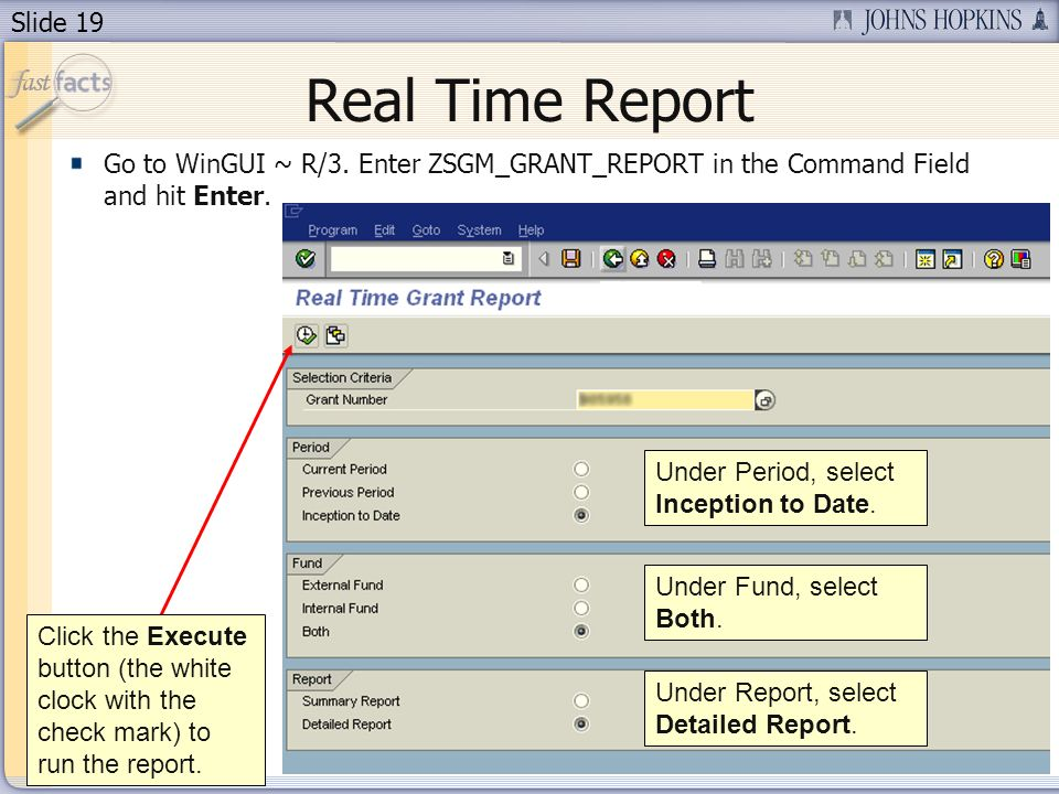 Slide 19 Real Time Report Go to WinGUI ~ R/3.