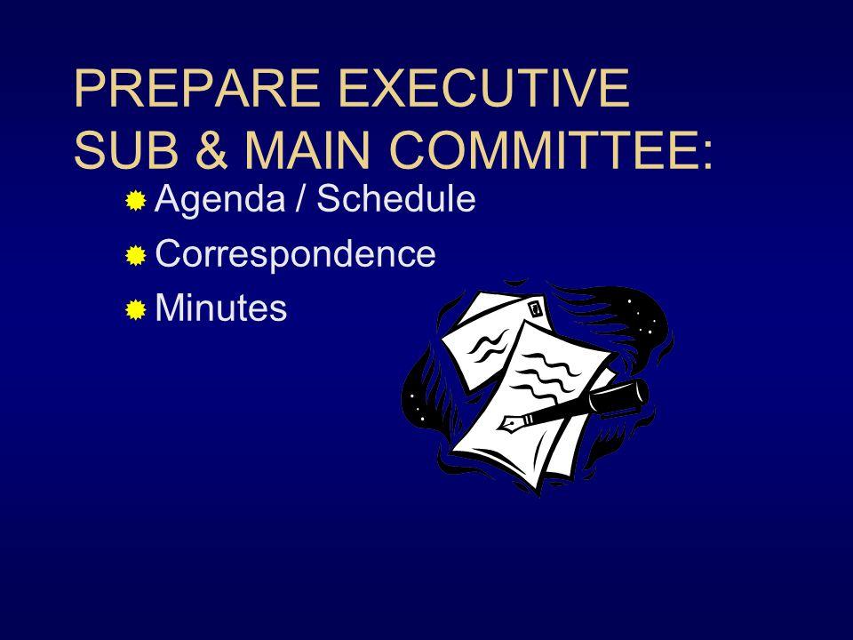 PREPARE EXECUTIVE SUB & MAIN COMMITTEE: Agenda / Schedule Correspondence Minutes