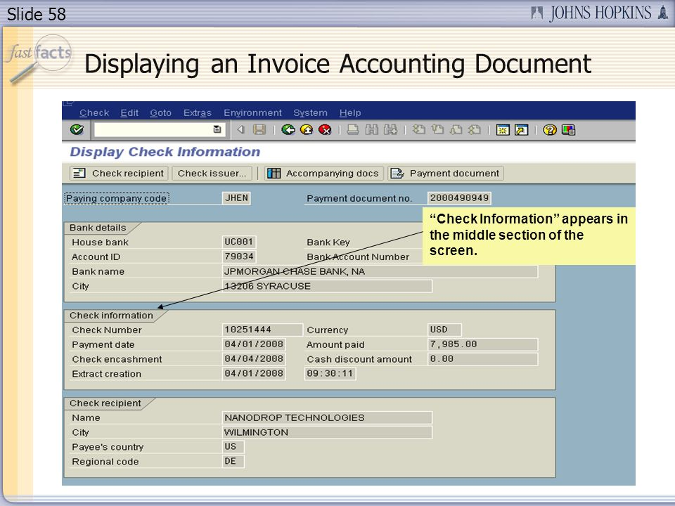 Slide 58 Displaying an Invoice Accounting Document Check Information appears in the middle section of the screen.