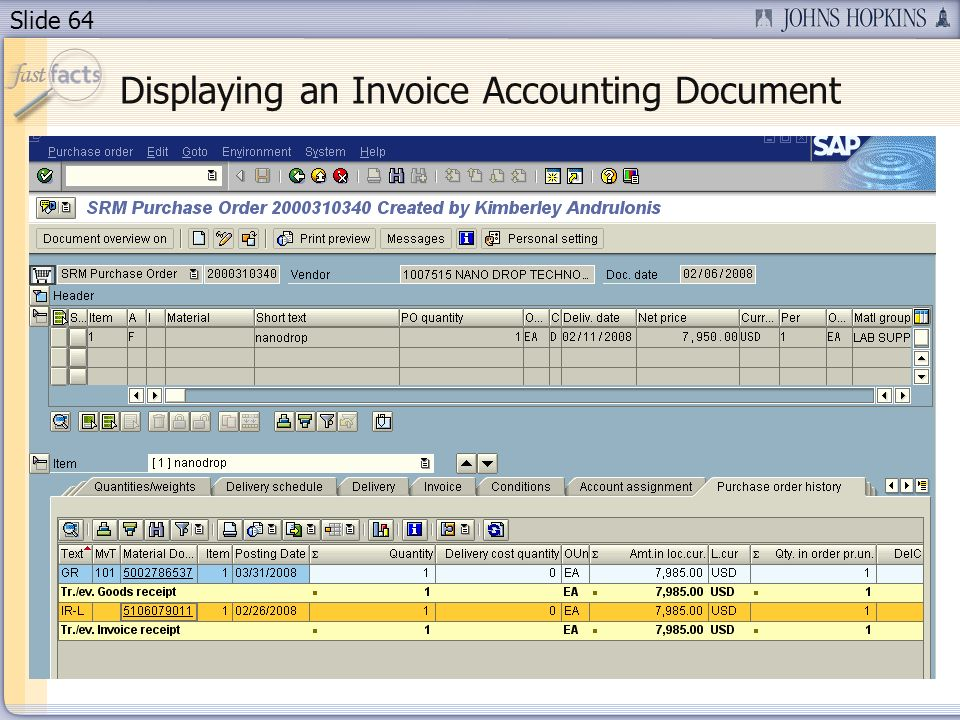 Slide 64 Displaying an Invoice Accounting Document