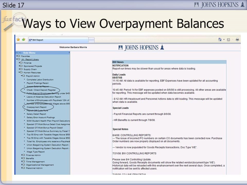Slide 17 Ways to View Overpayment Balances