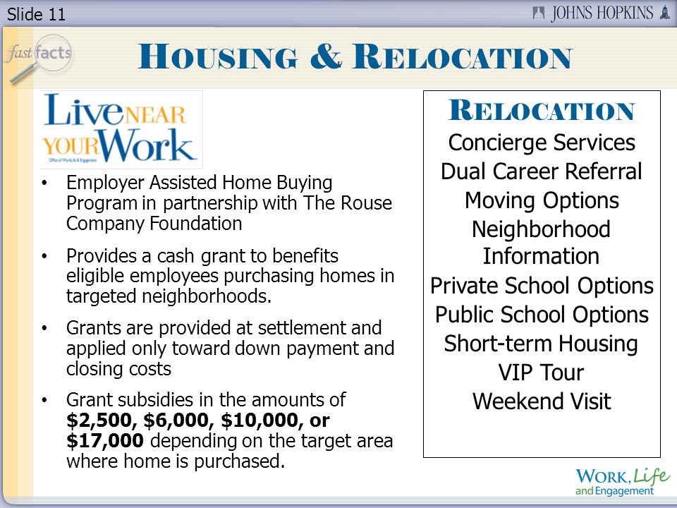 Slide 11 & Employer Assisted Home Buying Program in partnership with The Rouse Company Foundation Provides a cash grant to benefits eligible employees purchasing homes in targeted neighborhoods.
