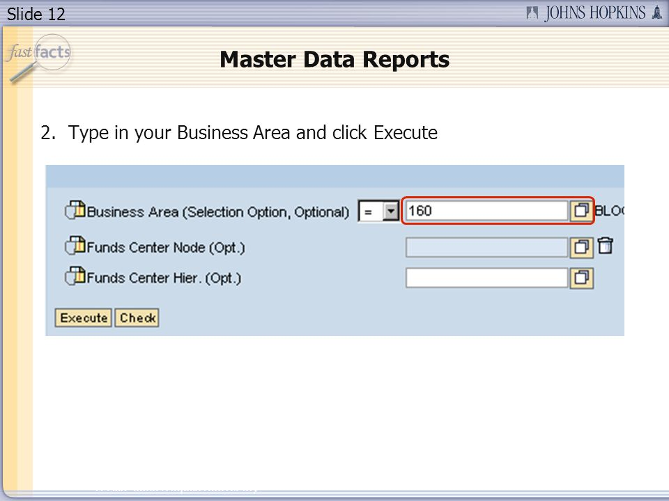 Slide 12 2007 Johns Hopkins University Master Data Reports 2.Type in your Business Area and click Execute