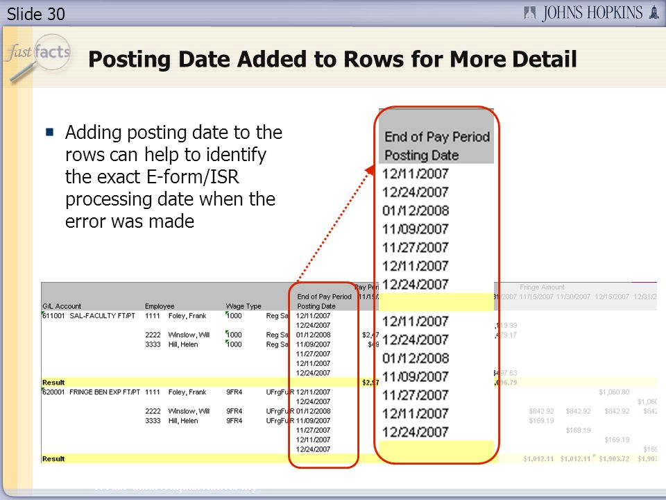 Slide 30 2007 Johns Hopkins University Posting Date Added to Rows for More Detail Adding posting date to the rows can help to identify the exact E-form/ISR processing date when the error was made