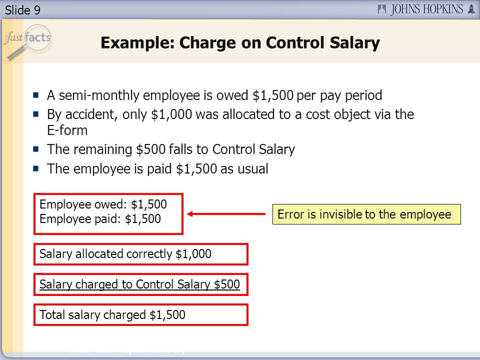 Slide 9 2007 Johns Hopkins University Example: Charge on Control Salary A semi-monthly employee is owed $1,500 per pay period By accident, only $1,000 was allocated to a cost object via the E-form The remaining $500 falls to Control Salary The employee is paid $1,500 as usual Salary allocated correctly $1,000 Employee owed: $1,500 Employee paid: $1,500 Error is invisible to the employee Salary charged to Control Salary $500 Total salary charged $1,500