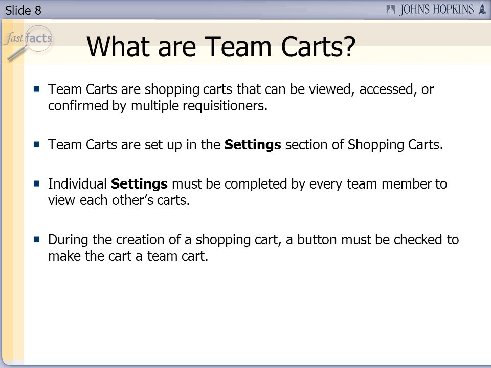 Slide 8 What are Team Carts.