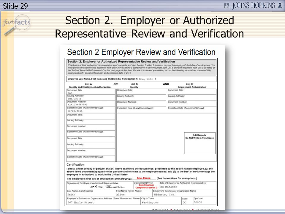 Slide 29 Section 2. Employer or Authorized Representative Review and Verification