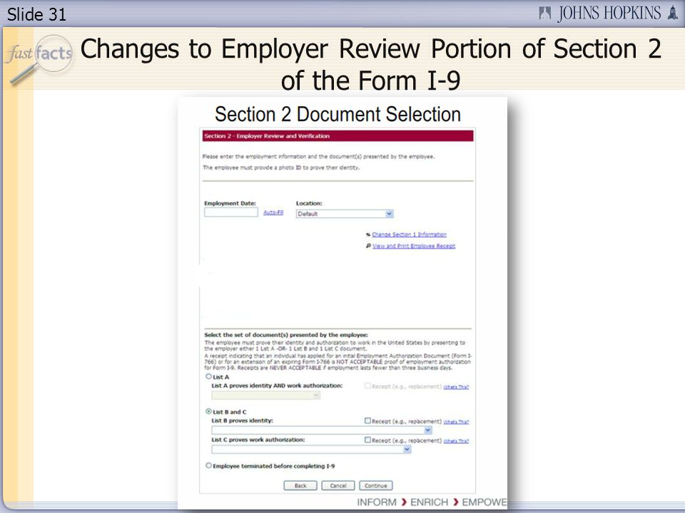 Slide 31 Changes to Employer Review Portion of Section 2 of the Form I-9