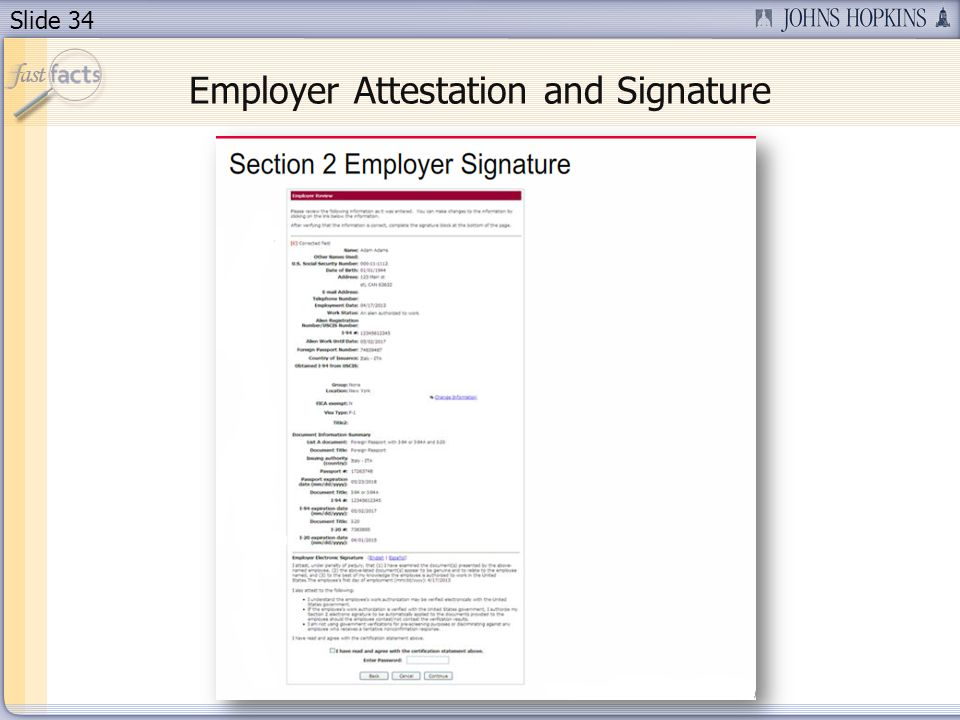 Slide 34 Employer Attestation and Signature