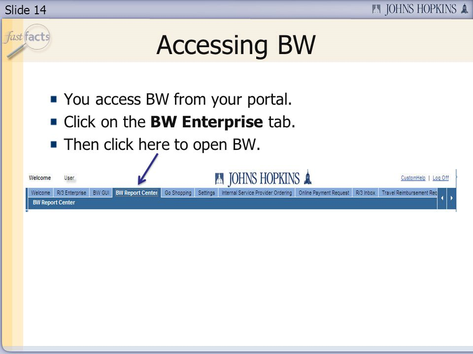 Slide 14 Accessing BW You access BW from your portal. Click on the BW Enterprise tab. Then click here to open BW.