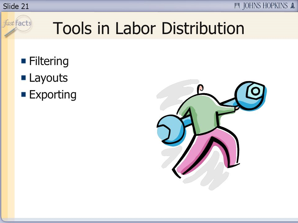 Slide 21 Tools in Labor Distribution Filtering Layouts Exporting