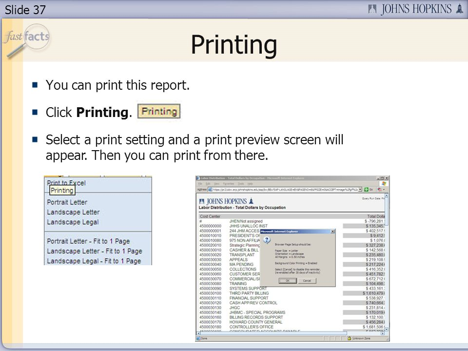 Slide 37 Printing You can print this report. Click Printing. Select a print setting and a print preview screen will appear. Then you can print from th