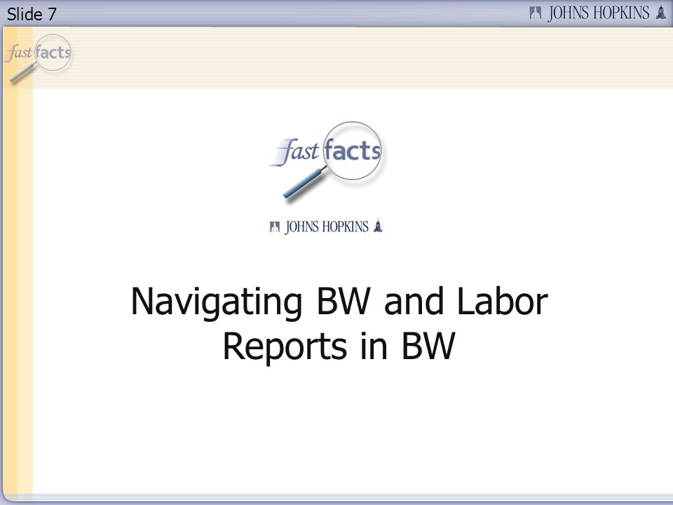 Slide 7 Navigating BW and Labor Reports in BW