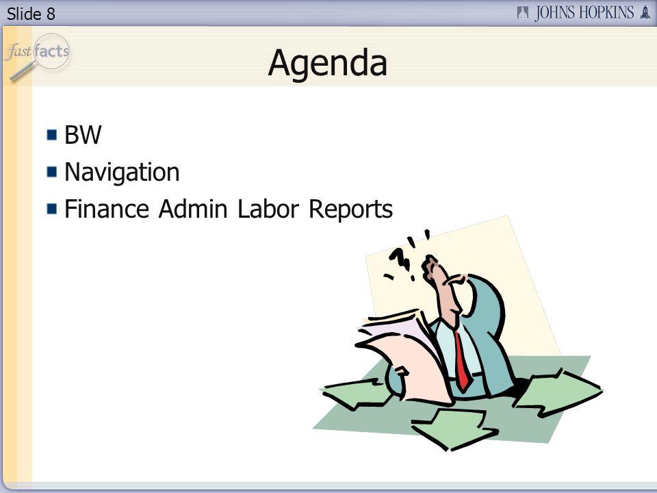 Slide 8 Agenda BW Navigation Finance Admin Labor Reports