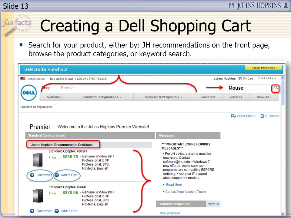 Slide 13 Search for your product, either by: JH recommendations on the front page, browse the product categories, or keyword search.