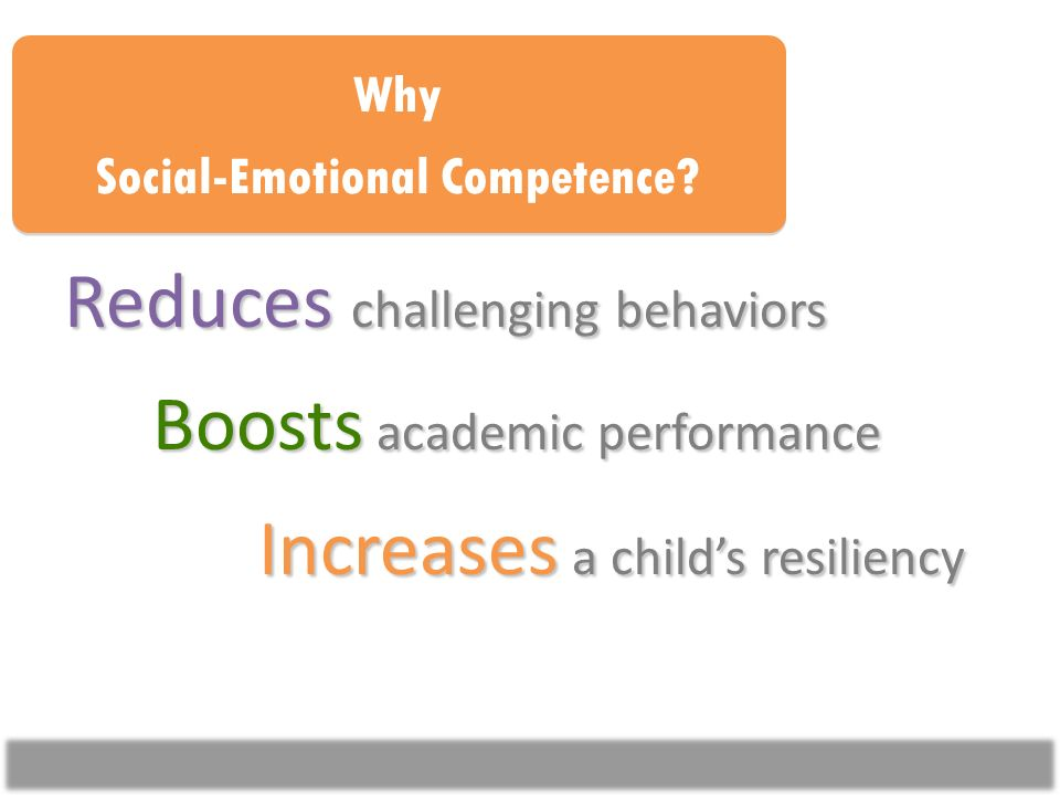 Reduces challenging behaviors Boosts academic performance Increases a childs resiliency Why Social-Emotional Competence