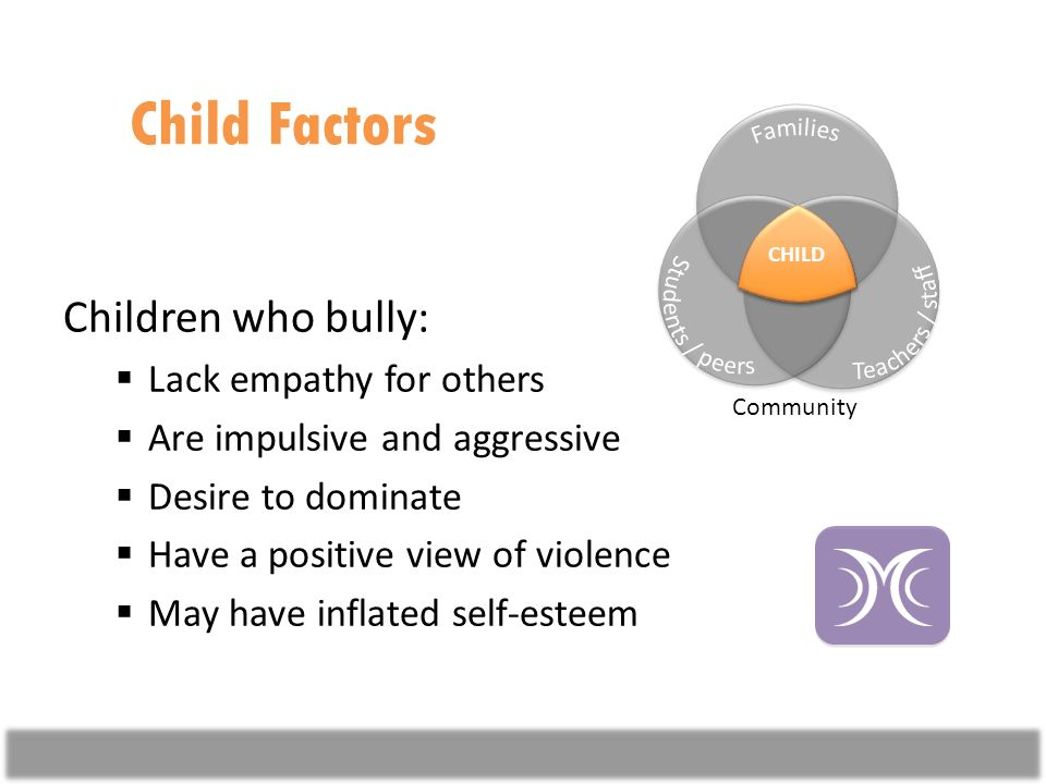 Child Factors Children who bully: Lack empathy for others Are impulsive and aggressive Desire to dominate Have a positive view of violence May have inflated self-esteem CHILD Community