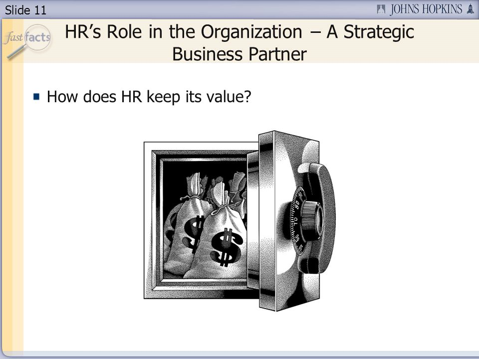 Slide 11 HRs Role in the Organization – A Strategic Business Partner How does HR keep its value