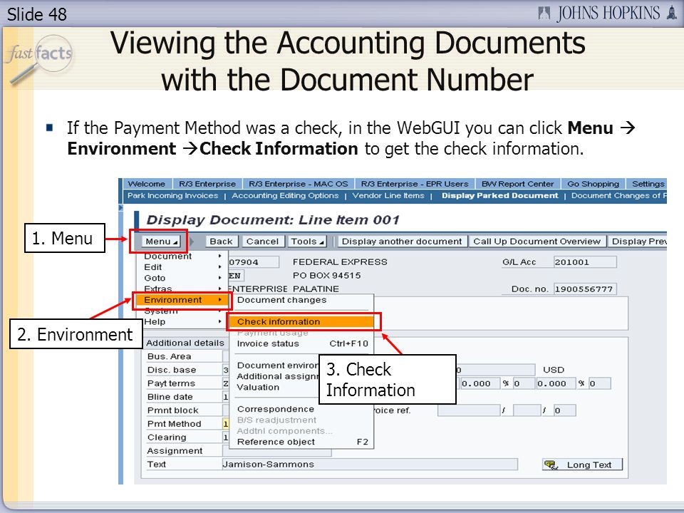 Slide 48 1. Menu 3. Check Information Viewing the Accounting Documents with the Document Number 2.