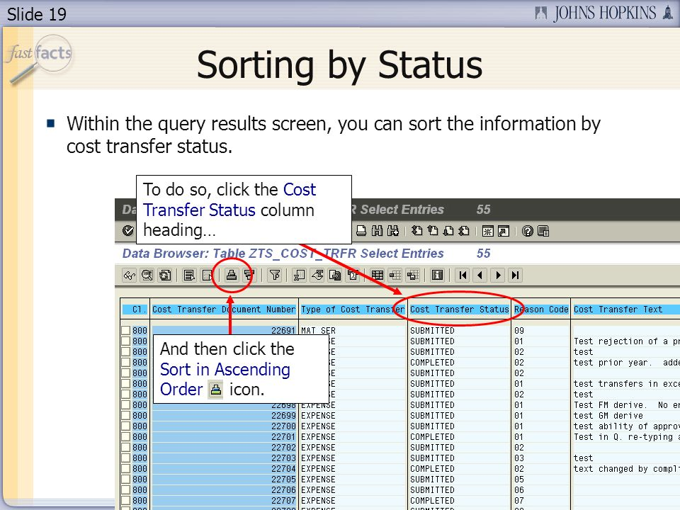 Slide 19 Sorting by Status Within the query results screen, you can sort the information by cost transfer status.